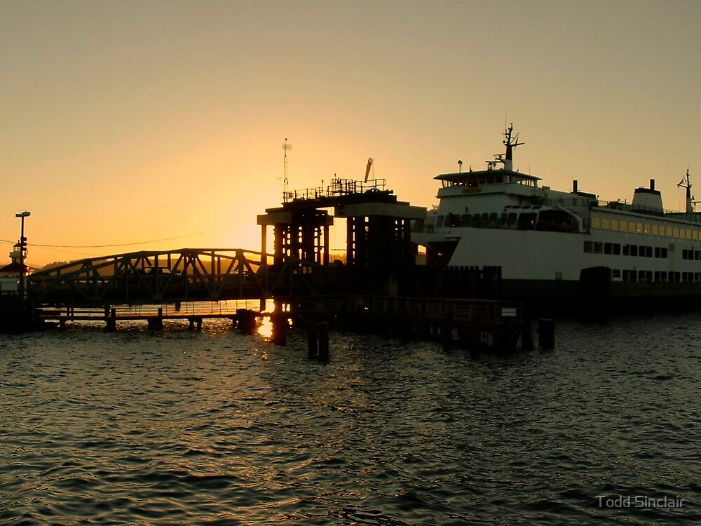 Ferry at sunset by Todd Sinclair