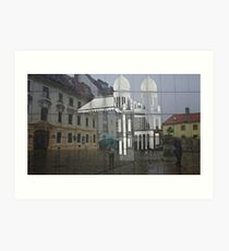 Rainy day reflections on etched wall, Bratislava Art Print