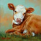 Pretty Calf Miniature Painting by Margaret Stockdale