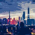 Coloured City Skyline Pt I by xaidex