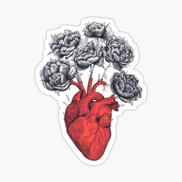 Heart with peonies Sticker