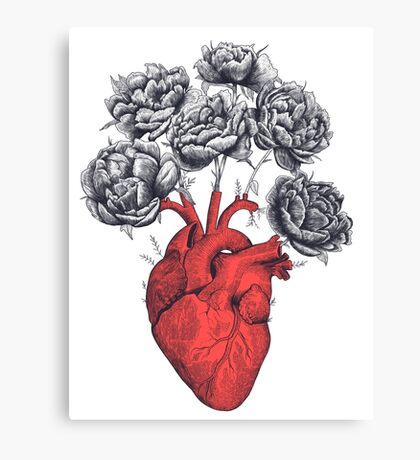 Heart with peonies Canvas Print