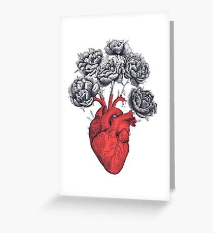 Heart with peonies Greeting Card
