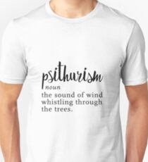 Psithurism - Wind through trees - Word Nerd Minimalist Black White Unisex T-Shirt
