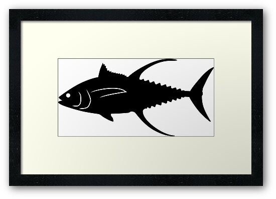 yellowfin tuna fish silhouette black framed prints by