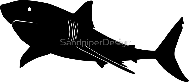 Great White Shark Silhouette Black Photographic Prints by
