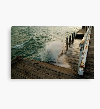 Choppy Seas,Queenscliff Pier Canvas Print