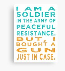 Soldier Army Peaceful Resistance Canvas Print