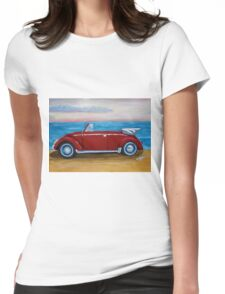red VW bug with sea Womens Fitted T-Shirt