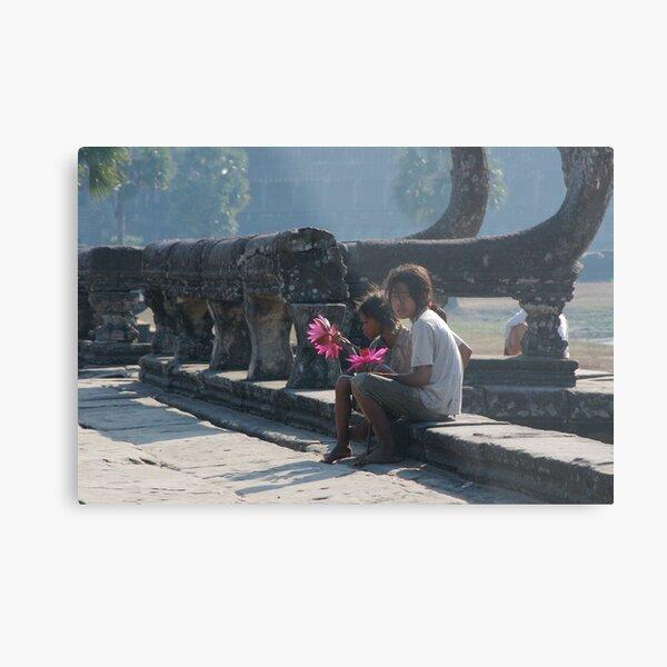 Girls at Angkor Wat temple Metal Print