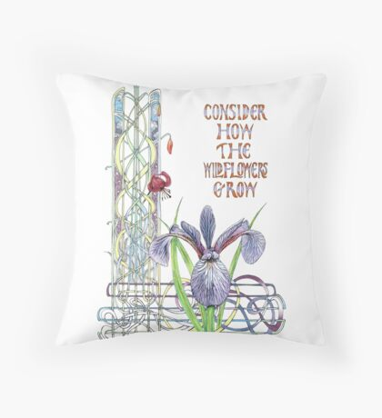 Consider the Wild Flowers Throw Pillow