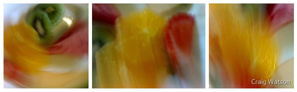 Blurred Fruit Platter Triptych by Craig Watson
