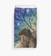 Sight-hound gazing at the star filled night sky Duvet Cover