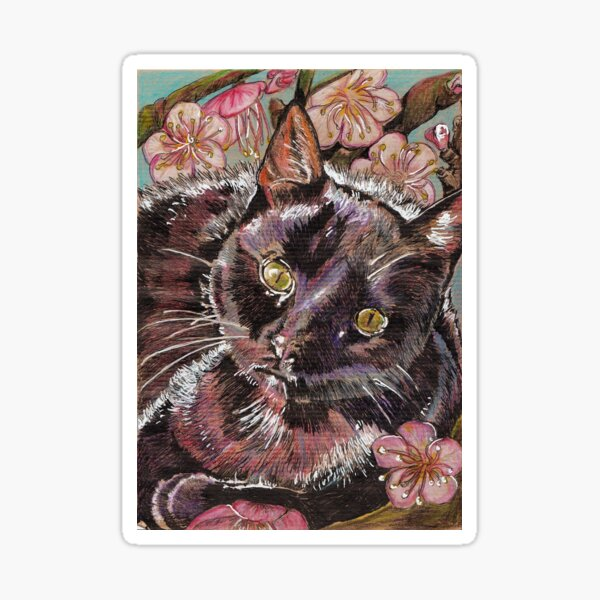 black cat and apricot blossom Sticker