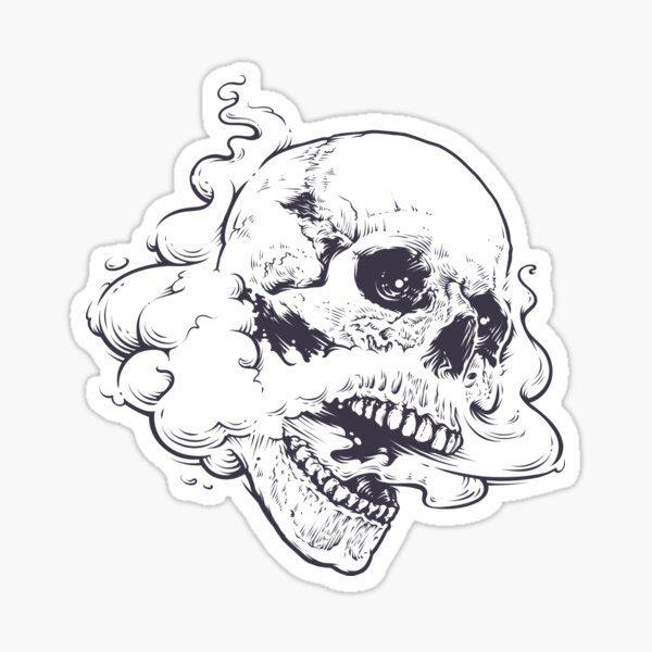 Vaping Skull Sticker