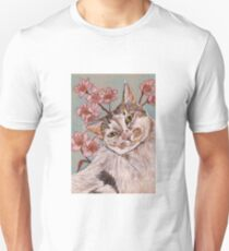 White Tabby Cat with Blossom T-Shirt