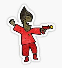 cartoon future man with raygun Sticker