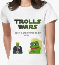 Trolls Wars -Trump and Le Pen Womens Fitted T-Shirt