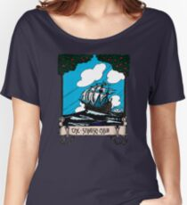 Vintage Sail Boat Sailing Ship,At Stormy Open Sea - Retro Color Design Women's Relaxed Fit T-Shirt