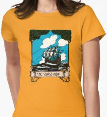 Vintage Sail Boat Sailing Ship,At Stormy Open Sea - Retro Color Design Womens Fitted T-Shirt