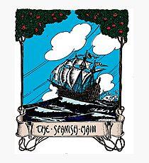 Vintage Sail Boat Sailing Ship,At Stormy Open Sea - Retro Color Design Photographic Print