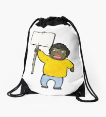cartoon political protester Drawstring Bag