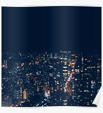 Urban Cityscape night lights Buildings Poster