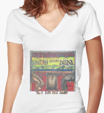 Abbess Hilda and the Synod of Whitby Women's Fitted V-Neck T-Shirt