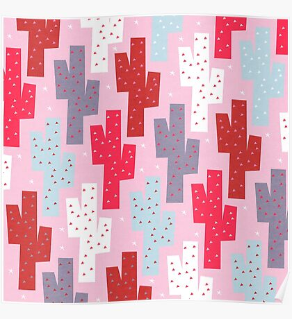 Sweet cactus pattern Poster
