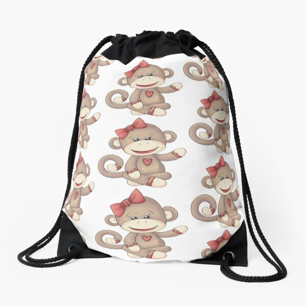 Baby Girl Sock Monkey Drawstring Bag