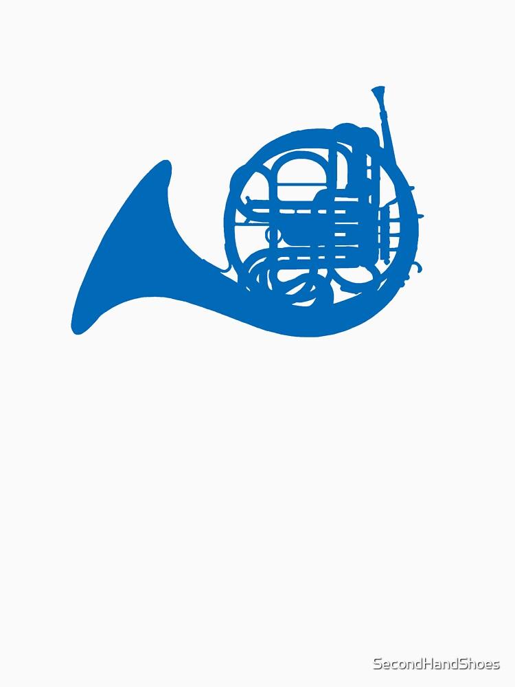 Blue French horn   Unisex T-Shirt