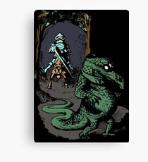 Vintage Knight Fighting A Dragon - Cool Funny Retro Cartoon T-shirts And Gifts Ideas Design Canvas Print