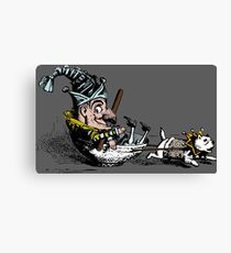 A Jester Boy Pulled by a Pitbull Dog In A Tea Cup - Cool Funny Vintage Illustration Canvas Print