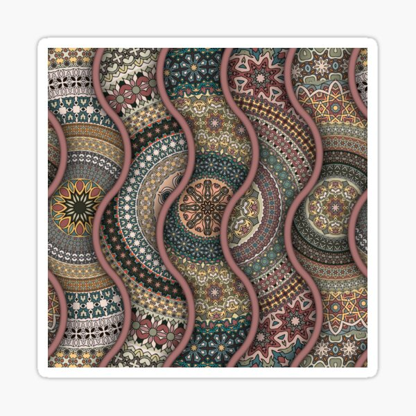 Colorful abstract ethnic floral mandala pattern design Sticker