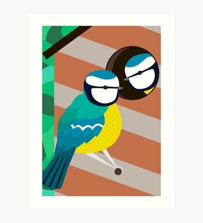 Blue Tits in Nesting Box Illustration Art Print