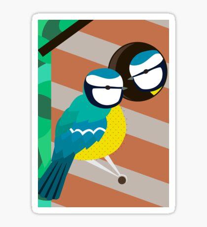 Blue Tits in Nesting Box Illustration Sticker