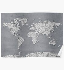 world map music notes 4 Poster