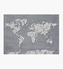 world map music notes 4 Photographic Print