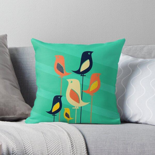 Mid Century Bird Illustration Throw Pillow