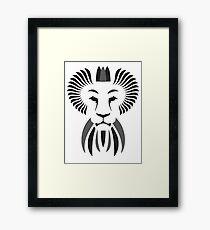 Lion Haze - Black & White King Framed Print