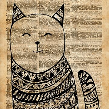 Smiling Cat Pen & Ink Zentagle Dictionary Art by DictionaryArt