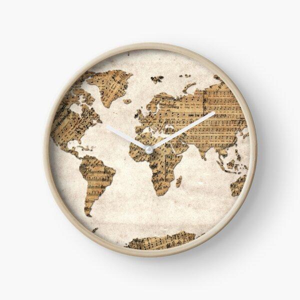 world map music notes 5 Clock