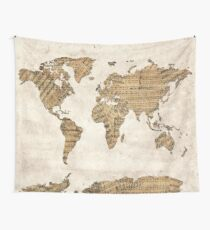 world map music notes 5 Wall Tapestry