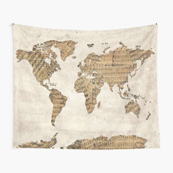 world map music notes 5 Tapestry