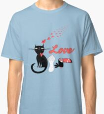 Seamless festive pattern with lovers cats Classic T-Shirt