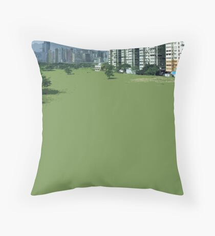 hong kong green Throw Pillow