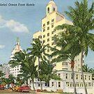 Palatial Ocean Front Hotels, Miami Beach, Florida Vintage Postcard by Framerkat