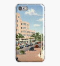 Lincoln Road and Washington Avenue Business Section, Miami Beach, Florida Vintage Postcard iPhone Case/Skin