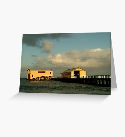 Passing Storm, Queenscliff Pier Greeting Card