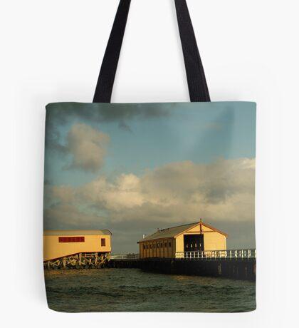 Passing Storm, Queenscliff Pier Tote Bag